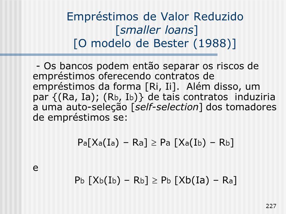 Empréstimos de Valor Reduzido [smaller loans] [O modelo de Bester (1988)]